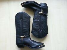 Leder-Cowboy-Western-Stiefel-Leather-Heels-Boots-Shoes-Schuhe 36 neuw.EDEL schw.