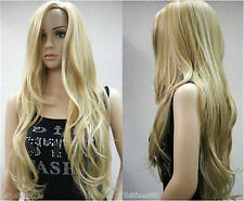 Hot Sell New Fashion Long Blonde Straight Wavy Women's Lady's Hair Wig Wigs +Cap