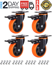 New Listing4 Caster Wheels Set Of 4 Heavy Duty Casters With Brake Safety Dual Locking C