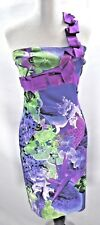 Karen Millen One Shoulder Ribbon Dress Tropical Print Satin Purple Pink Sz 6