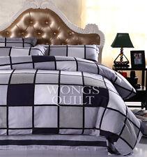 Check Quilt Doona Duvet Cover Set Queen Size Bed Linen Pillow Cases 100 Cotton