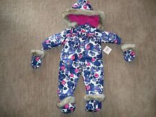 JUICY COUTURE Hooded Winter 1 PC SNOWSUIT Bunting Infant Girls 3 - 6 Months $168