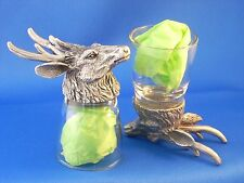 Deer Buck Shot Glasses Set of 2 Shooter Schnapps Glass and Pewter