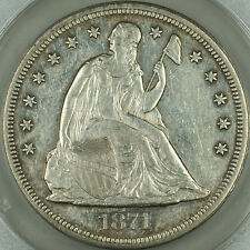 1871 Seated Liberty Silver Dollar $1 ANACS AU-55 Details Cleaned, AKR