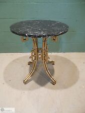 La Barge Hollywood Regency Faux Bamboo Gilt Metal Base Marble Top Accent Table