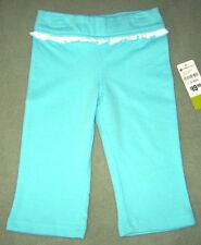 New PLEASE MUM Size 3-6 Months Aqua French Terry Pant, Ruffle Waistband