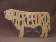 Hereford Cattle Cow Bull Amish Made Wood Farm Animal Puzzle Toy