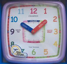 New Learn to tell The Time Teacher Nursery Kids Bedroom Quartz Wall Clock Purple