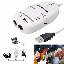 6.3mm Jack to USB Guitar Link Cable Adapter Guitar to PC/MAC Recording Black