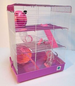 Penthouse Large Dwarf Hamster Small Pet Cage 3 Tier Pink & Purple, Blue & Lime