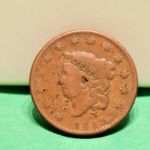 1819 US Large Cent 1c VG (Partial Hole)