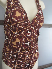 Garnet Hill Swimsuit Bathing Suit Malliot Tummy Hiding Browns Size 12 M