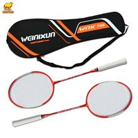 Badminton Racket Set 2 Player Team Sports Recreational Combo Set with Carry Bag