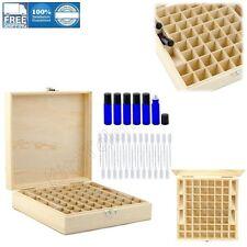 Wooden Essential Oil Box Case Storage w/ Cobalt Blue Rollon Bottle And Pipettes