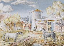 ELSIE STEWART (1920-2015) watercolour Hunter Valley Newcastle 1940 Modern Horses