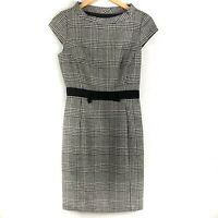 Milly Womens Dress Sheath Houndstooth Black Wool Cap Sleeve Size 2