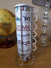 World Market International Cities 6 Stacking Coffee Mug Cups & Rack 7 pc Set