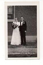 Vintage Photo Pretty Bride & Groom, Bouquet Of Flowers, Wedding, Jul16