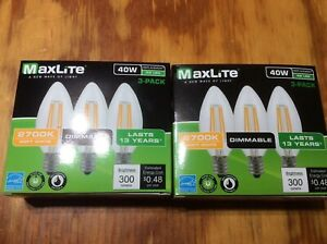 6 pack LED Light Bulb 40W Equivalent C12  Candelabra Dimmable