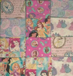 "2 FAT QUARTER 18"" X 20"" Disney Princess  Free Ship Mask Quilting Cotton Fabric"