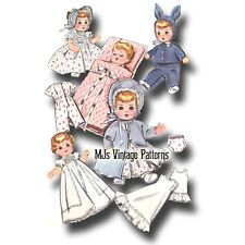 """Vtg 1950s Doll Clothes Pattern ~ 19"""" 20"""" 21"""" Tiny Tears, Betsy Wetsy, Dy Dee"""