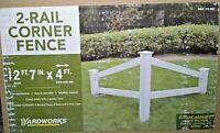 Yardworks 2-Rail Corner Fence - White Vinyl, 2 ft, 7 in x 4 ft