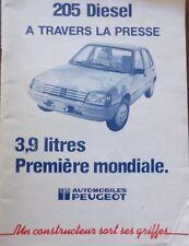 RARE ! Dossier presse PEUGEOT 205 DIESEL a travers la presse 3,9 litres première
