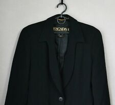 Authentic Luxury Rare Vintage Escada Margaretha Ley Black Wool Blazer Size 34
