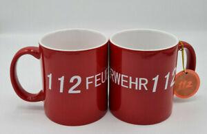Feuerwehr Tasse Feuerwehrtasse Kaffebecher Becher Schriftzug Feuerwehr 112 rot