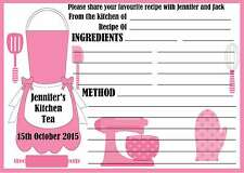 Personalised Kitchen Tea/Bridal Shower Recipe Cards x 10 free postage
