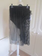 BNWT ASOS BLACK NET & LACE SEE THROUGH ATTACHED KNICKER SKIRT SIZE 10 IBIZA