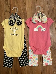 (2) CUTIE PIE 3-Piece Pant Sets, Baby Girls Size 3-6 Months, New with Tags