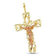 Jesus Medieval Cross Pendant Solid 14k Yellow Rose Gold Crucifix Charm Two Tone