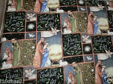 HOLY NIGHT fabric PATCHWORK NATIVITY FABRIC MANGER PEACE cotton fabric BTY NEW