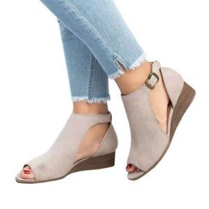 Gladiator Summer Womens Peep Toe Wedge Low Heels Shoes Casual Buckle Sandals Sz