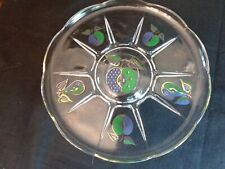 Georges Briard Blue Green Gold Apple and Pears Pedestal Cake Stand Mid Century