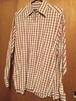 Men's Ermenegildo Zegna Red Brown Checkered L/S Shirt Cotton Sz L Italy (3f)