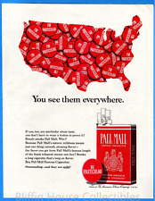 "Vintage 1965 Pall Mall w/ Red ""I'm Particular"" USA Map Original Print Ad"