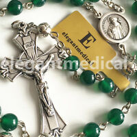 Silver rose Beads & Green Jade 5 DECADE Rosary Cross CATHOLIC NECKLACE