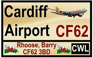 Street / Route Plaques (Cardiff Aéroport) Souvenir Nouveauté Frigo Aimant /