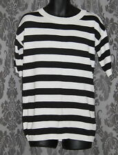 Womens size 10-12 black & white striped short sleeved long knit top by ASOS