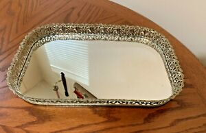 Vanity Mirrored Tray Gold Tone Scrolling Rim Vintage Dresser Mirror Floral