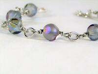 Rainbow BLUE Crystal Beaded Silver Chain Link Bracelet USA HANDMADE OOAK