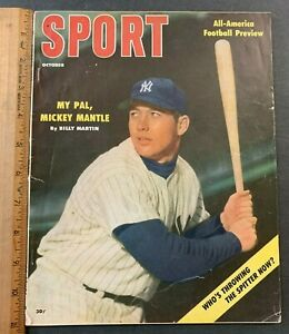 1956 OCTOBER SPORT MAGAZINE MICKEY MANTLE BILLY MARTIN FOOTBALL ALL-AMERICANS