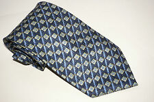 Blue Hand Made 100% Pure Silk Neck Tie with Green & Blue Squares and Stripes