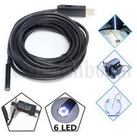 7 M Wasserdicht Endoskop Farb Rohrkamera 6 LED USB Inspektionskamera Kanalkamera