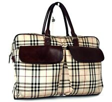 Authentic BURBERRY Nova Check Nylon Canvas, Brown Leather Hand Bag Handbag Purse
