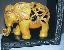 EXOTIC OPENWORK CARVED ELEPHANT BOOK END