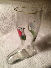 Vintage German Glass Boot Stein Beer Glass with Gold Trim Top & Humorous Scenes