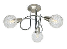 Globe Mesh Shade 3 Way Ceiling Light Spotlight Ceiling Fixture Chrome Satin Lite